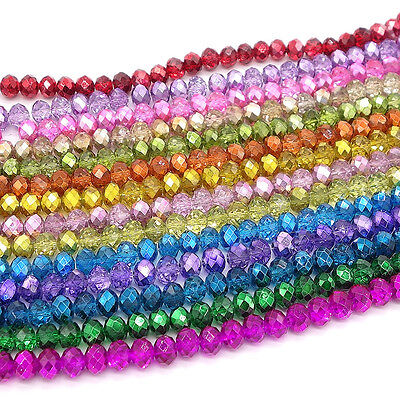 Wholesale Glass Beads (Wholesale Crystal Glass Rondelle Faceted Loose Spacer Beads DIY 4mm 6mm 8mm)