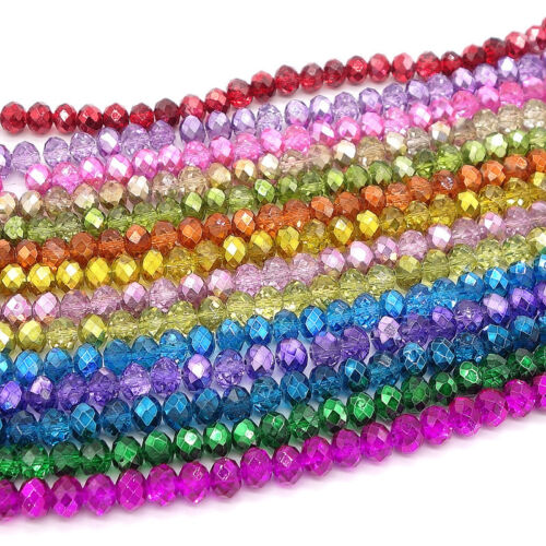 Beads - Wholesale Crystal Glass Rondelle Faceted Loose Spacer Beads DIY 4mm 6mm 8mm 10mm