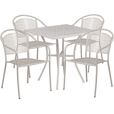 28 Square Light Gray Indoor-outdoor Patio Restaurant Table Set W4 Chairs