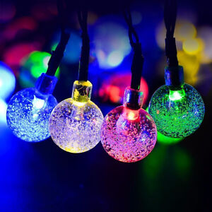 Solar String Lights, 16ft 20 LED Crystal Ball Waterproof Outdoor