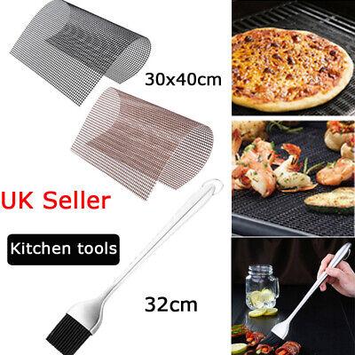 BBQ Silicone Brush ,BBQ Grill Mesh Non-Stick Mat Sheet, Resistant Baking Tool UK