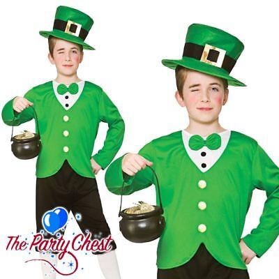 BOYS FUNNY LEPRECHAUN COSTUME St Patricks Day Kids Irish Fancy Dress Outfit 4119