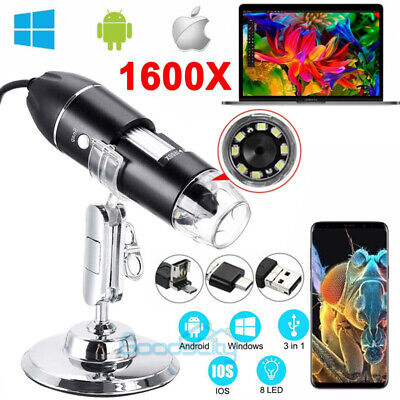 1000x1600x 8led Digital Microscope Usb Endoscope Camera Android Mac Window