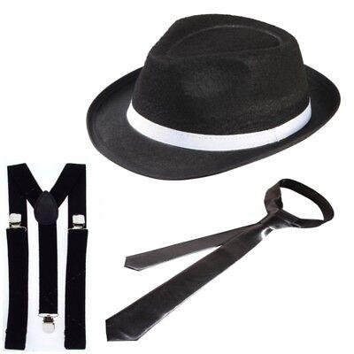 3tlg. Gangster Set Mafia Kostüm 20er 30er - Hut Hosenträger Krawatte  - Gangster Kostüm Requisiten