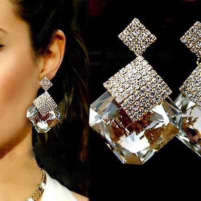 Neue Modeschmuck Quadrat Kristall Ohrringe Luxus Funkelnde Große Ohrri*ZP