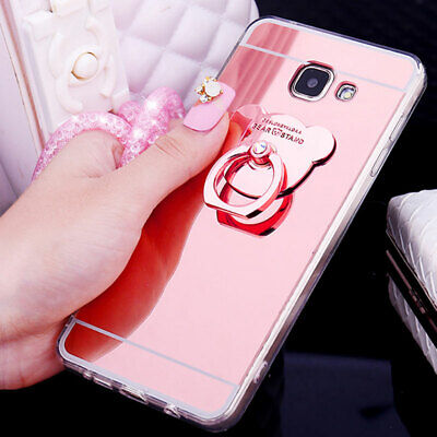 Chrome Standing Mirror (Chrome Mirror Bear Ring Loop Stand Soft Case For Samsung Galaxy Note S10 S9 S8 )