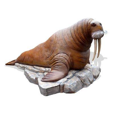 WALROSS WALRUS 495 cm auf FELSEN ROBBE WERBEFIGUR Deko Tier Figur Gastro WERBUNG