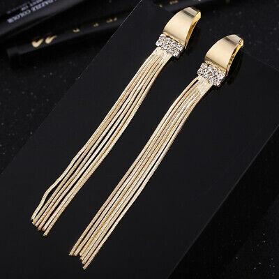 Women Long Metal Chain Tassel Drop Dangle Earrings Crystal Rhinestone Gold Tone Chain Rhinestone Drop Earrings