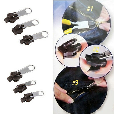 PRO 12 Stk//Set Fix A Zipper 6 Pack Zip Rescue Instant Repair-Kit Ersatz Schwarz