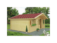 44 mm, 16 x 13' (5 x 4 m) Log Cabin. 18 mm roof and floor boards