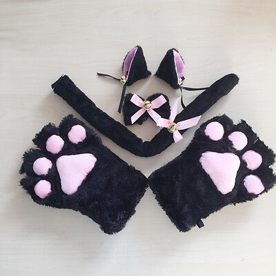 Cat Fox Ears Tail Paws Collar Cosplay Party Costume Plush Claws Gloves Tie - Fox Tails Kostüm