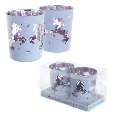 BOXED SET OF 2 ENCHANTED RAINBOW UNICORN GLASS TEA LIGHT VOTIVE CANDLE HOLDERS