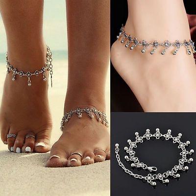 Womens Anklet Silver Bead Chain Ankle Bracelet Barefoot Sandal Beach Foot Jewel