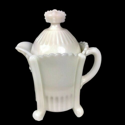 Antique EAPG Westmoreland Milk Glass footed cream pitcher with lid c.1850