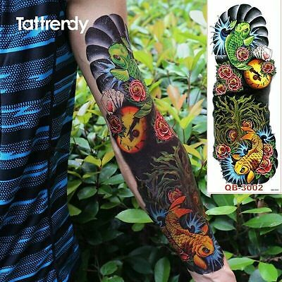 Full Arm Fish Roses Tribal Tattoo Temporary Stickers Body Art 3D Tatoo Sleeve - Fish Tatoos