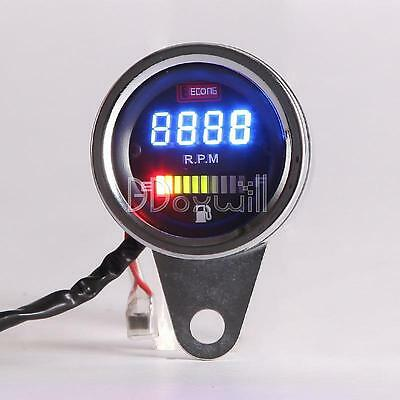 New Chrome Universal Motorcycle LED Digital Tachometer Voltmeter Gauge Combo Top