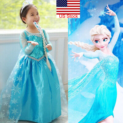 Fancy Dress Toddler (Toddler Girl Children Princess Anna Elsa Cosplay Costume Party fancy ball)