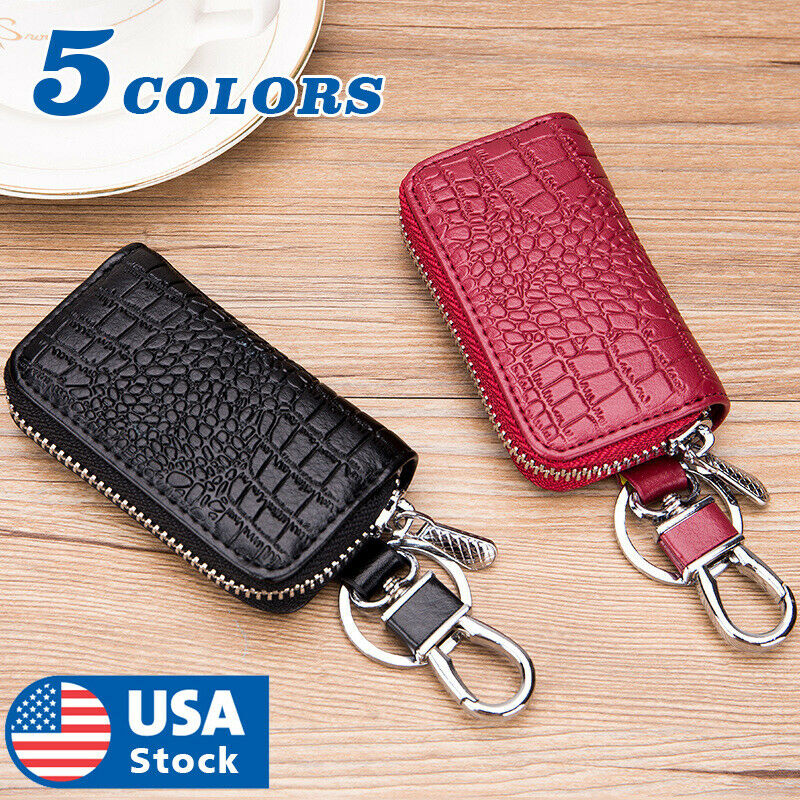 Car Key Holder Cover Key Chain Bag Genuine Leather Remote Fob Zipper Case US Apparel, Protective Gear & Merchandise