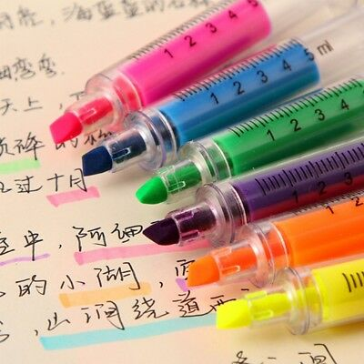 6pcs Syringe Highlighter Pen Marker Needle Tube Writer Pens Stationery Novelty