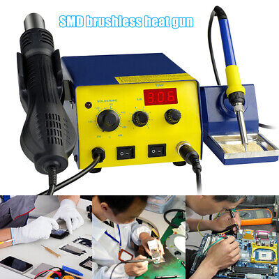 110v Smd Brushless Heat Gun Soldering Iron Station With Stand 750w