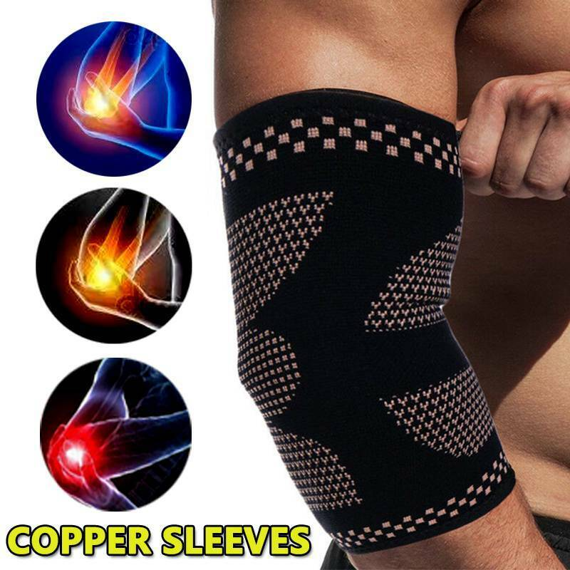 copper elbow brace fit compression sleeve support