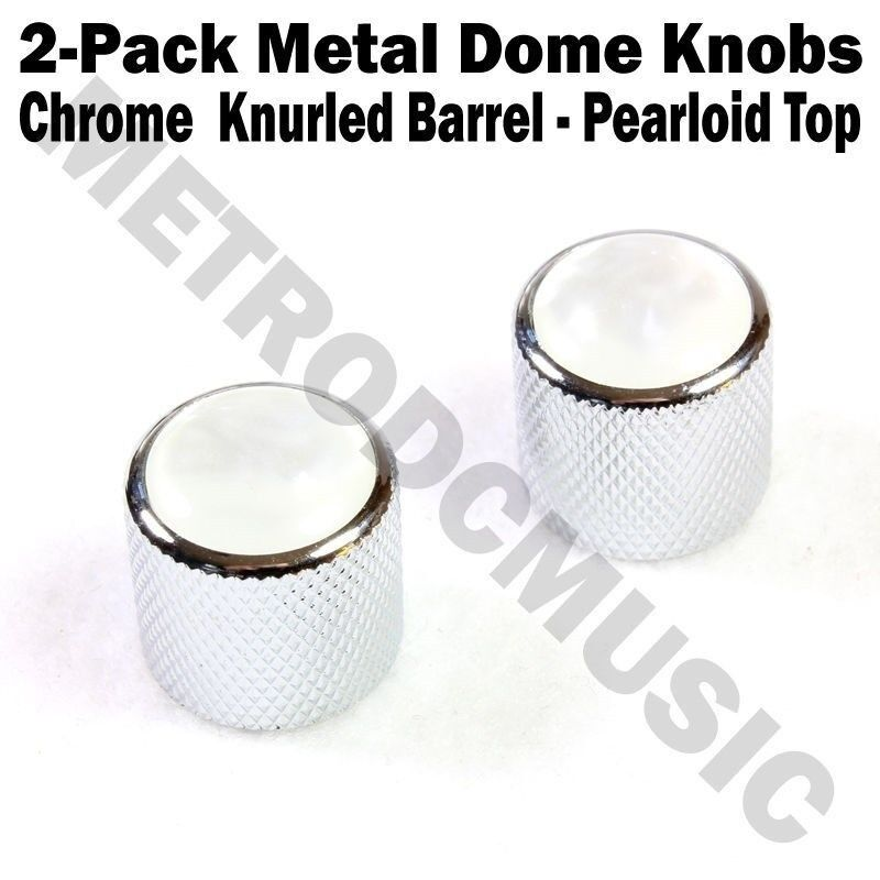 2-Pack Metal Dome Knobs - Chrome Knurled Barrel - White Pearl Top Guitar Control