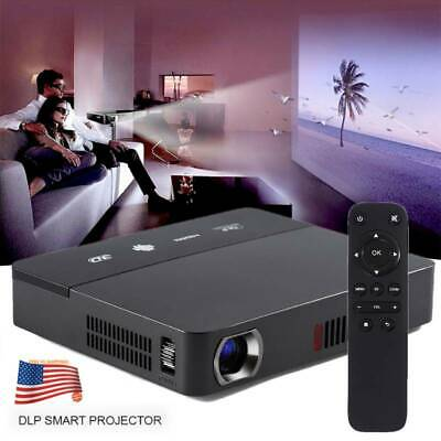 Smart Andorid 4.4 WIFI LED MINI DLP Projector 3D Beamer Miracast Home Airplay US