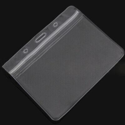 10 Pcs Horizontal Plastic Clear Vinyl Badge Business Id Card Holder Waterproof D