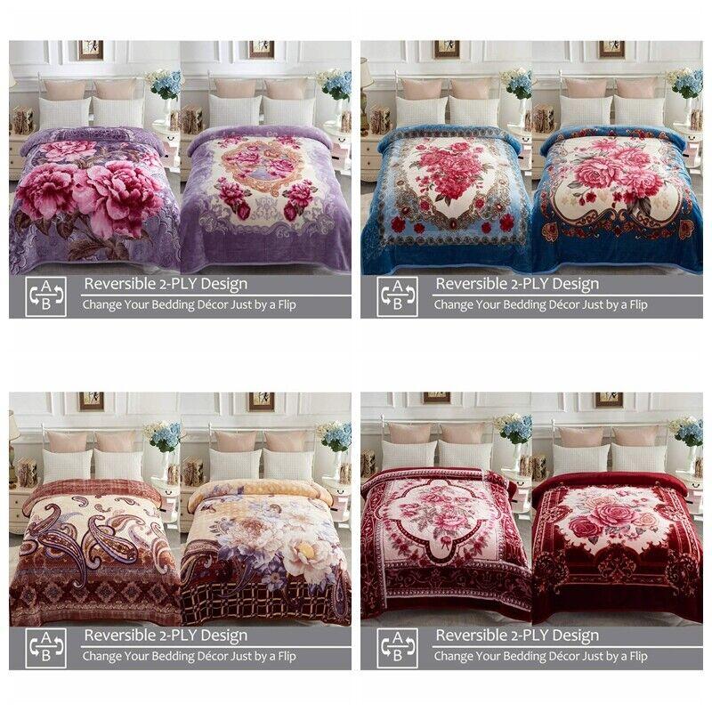 Heavy Korean Mink Fleece Blanket 2 Ply Reversible Silky Soft