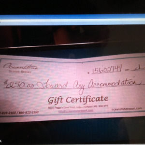 $250. SEASIDE RESORT GIFT CERTIFICATE