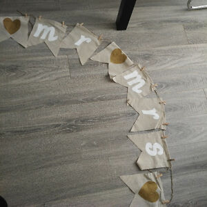 Wedding banner flag bunting and wooden mini pegs Kitchener / Waterloo Kitchener Area image 1
