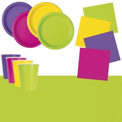 Neon Party Supplies Tableware, Decorations, Napkins, Plates, Cups