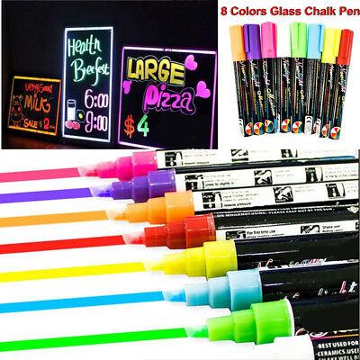 8 Colors Dual Nib Neon Liquid Chalk Pen Marker Blackboard Glass Window Menu 6mm