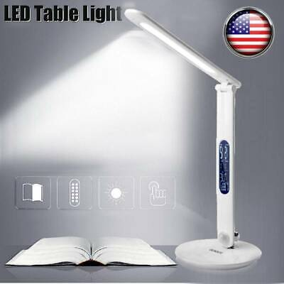 LED Desk Lamp Touch Dimmable Table Reading Light Foldable USB + Clock Calendar