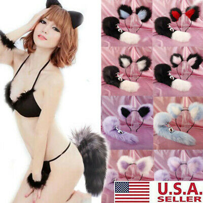 Fox Tail and Ears Anal-Butt Plug Romance Game Funny Toy Cat Adult Couple Cosplay