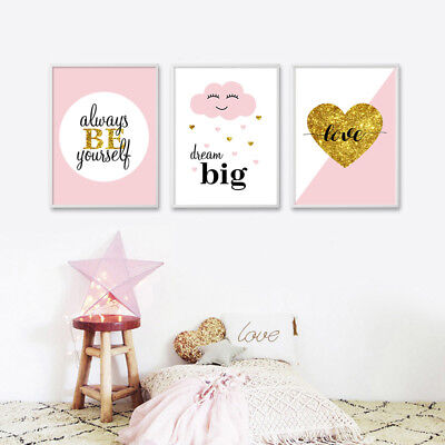 Nursery Quotes Wall Art Canvas Poster Minimalist Print Picture Baby Room Decor