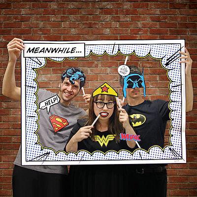 DC COMICS Superhero Photo Booth Frame and 24 Props Batman Wonder Woman Superman - Wonder Woman Party Decorations
