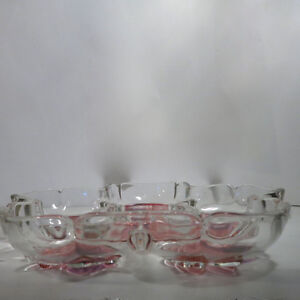 Relish Dish Pinks Floral Heavy Glass Beautiful Kitchener / Waterloo Kitchener Area image 3