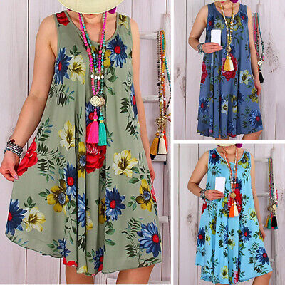 Women Summer Floral Sleeveless A Line Dress Plus Size Casual Evening Party Dress