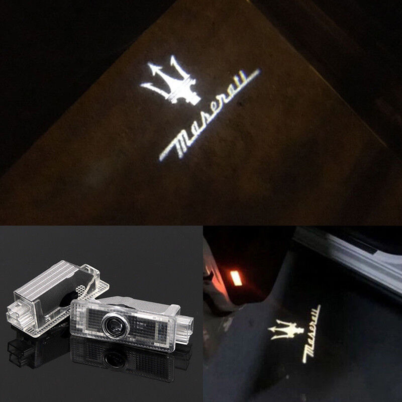 2x Logo LED Step Door Courtesy Welcome Light Ghost Laser Projector For Maserati