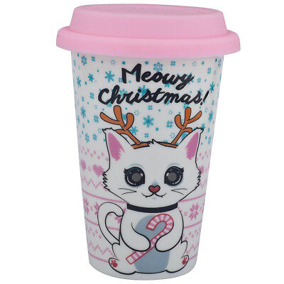 Lux Accessories Meowy Christmas Kitty Cat Happy Holidays Sippy Hot Coffee Drink ()