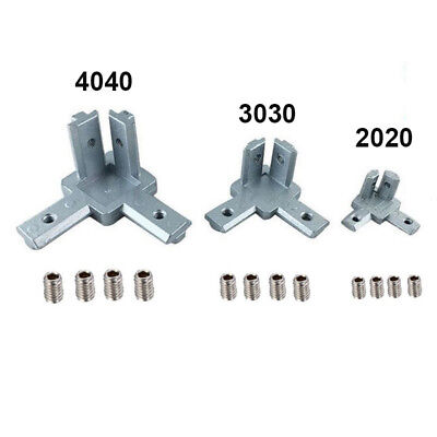 For 3d Printer 3-way Corner Bracket Screw T Slot Aluminum Profile 202030304040