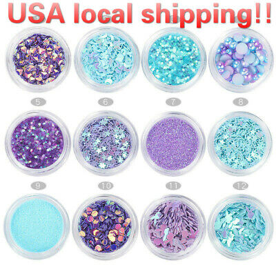 12pots/set Mermaid Half Pearls Star Laser Sequins Glitters Nail Art Decorations