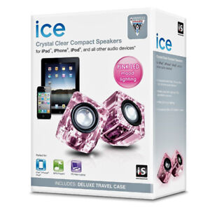 NEW ICE ISound Crystal Clear Compact Speakers Rose LED w/ Case