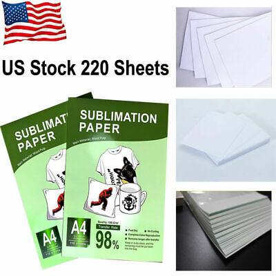 220 Pcs A4 Dye Heat Sublimation Paper Print Iron On Mug Polyester Cotton T-shirt