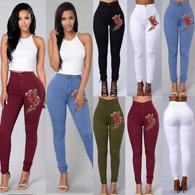 Women's Denim Slim Leggings Pants High Waist Stretch Jeans Rose Pencil (Denim Slim Leg Pant)