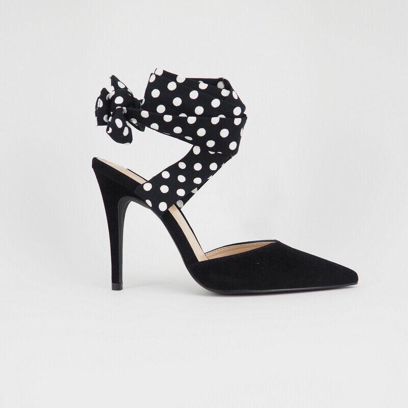 Black Polka Dot Backless Ankle Wrap Vegan Suede Pumps Stiletto Heels Sz 6-10