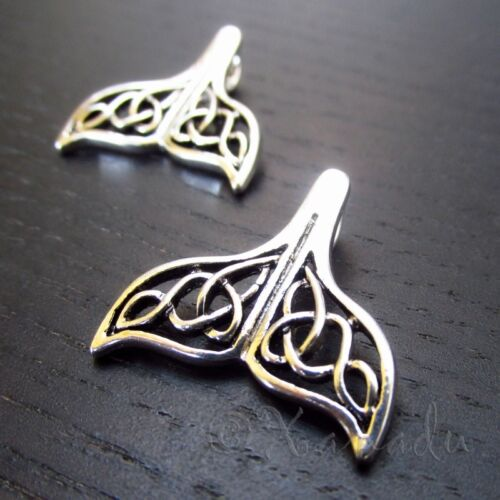 Celtic Mermaid Tail 24mm Antiqued Silver Plated Pendants C0608 - 2, 5 Or 10PCs