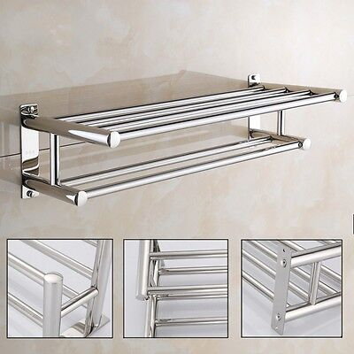 شماعة حمام جديد Stainless Steel Double Towel Rack Wall Mount Bathroom Shelf Bar Rail Hotel Style
