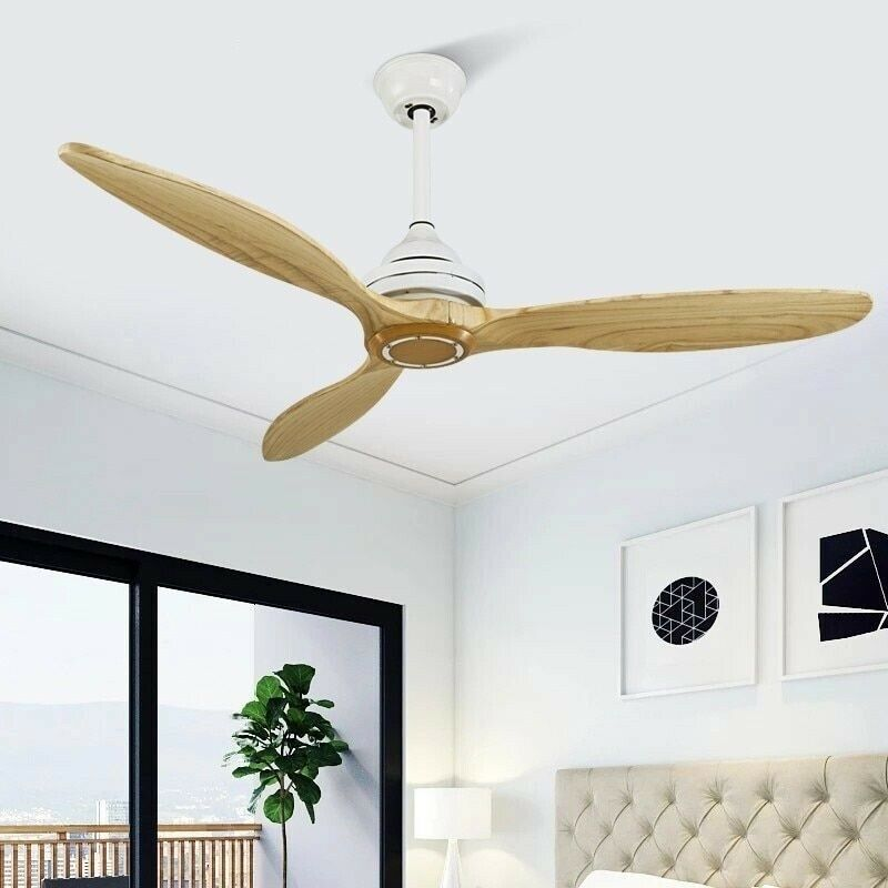 Black Wooden Ceiling Fan Without Light Decorative Room Home